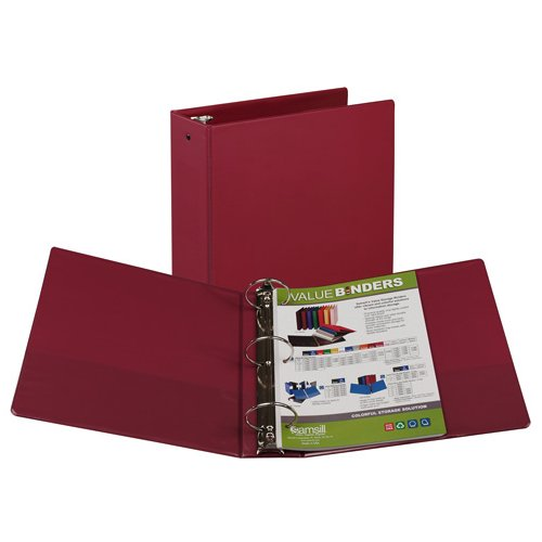 "Samsill 3"" Burgundy Value Round Ring Storage Binder - 12pk (SAM-11815) Image 1"