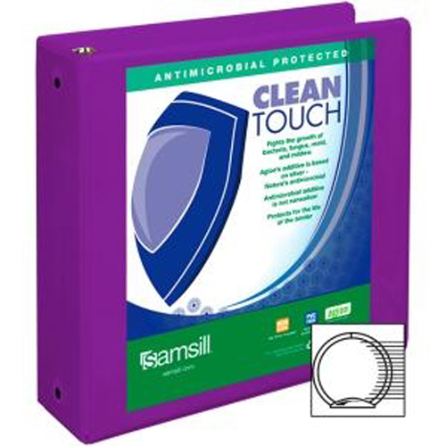 "Samsill 3"" Purple Clean Touch Antimicrobial Economy Round Ring View Binder - 12pk (SAM-17288) Image 1"