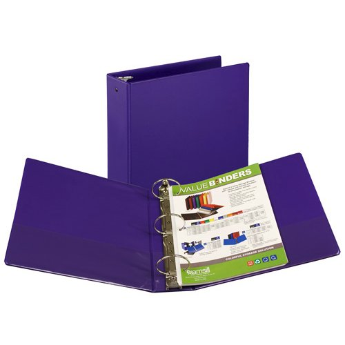 "Samsill 3"" Purple Value Round Ring Storage Binder - 12pk (SAM-11808) Image 1"
