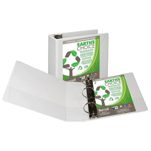 "Samsill 4"" White Earth's Choice Biodegradable Angle-D Ring View Binder - 6pk (SAM-16997), Samsill brand Image 1"