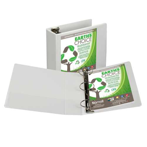 "Samsill 4"" White Earth's Choice Biodegradable Round Ring View Binder - 6pk (SAM-18997) Image 1"