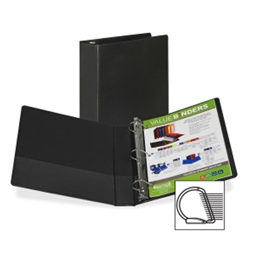 "Samsill 1"" Black Value Plus Angle-D Ring Storage Binder -12pk (SAM-16630) Image 1"