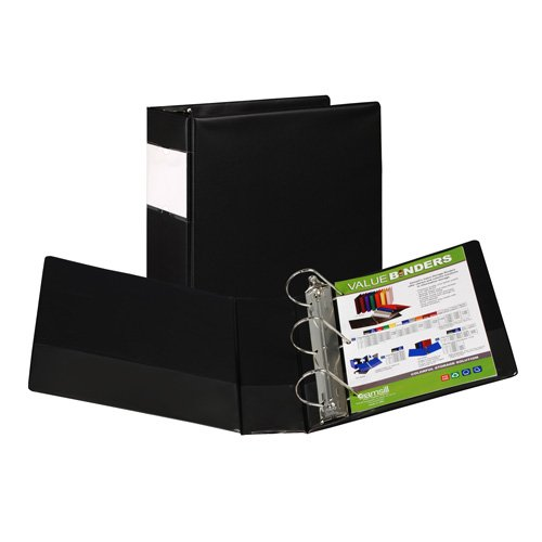 "Samsill 4"" Black Value Plus Angle-D Ring Binder with Label Holder - 6pk (SAM-16690) Image 1"