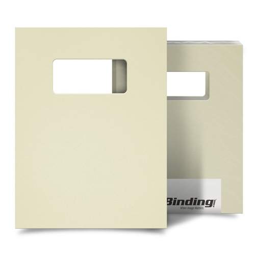 "Beige 55mil Sand Poly 9"" x 11"" Binding Covers with Windows - 10 Sets (MYMP559X11BGW) Image 1"