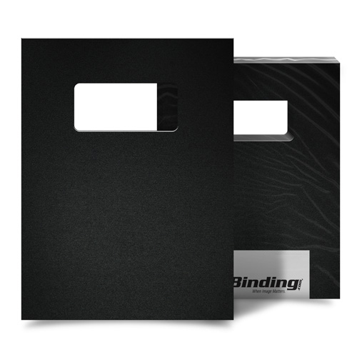 "Black 16mil Sand Poly 8.5"" x 11"" Covers with Windows - 25sets (MYMP168.5X11BKW) Image 1"