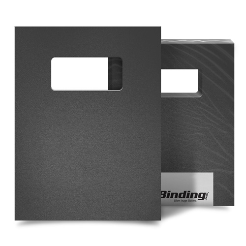 "Dark Gray 16mil Sand Poly 9"" x 11"" Binding Covers with Windows - 25 Sets (MYMP169X11DGYW) Image 1"