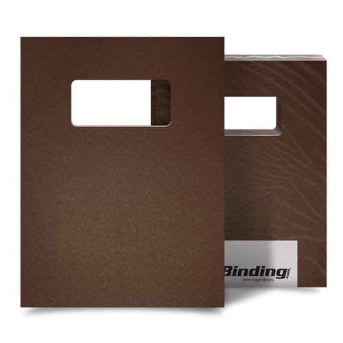 "Light Brown 23mil Sand Poly 9"" x 11"" Binding Covers with Windows - 25 Sets (MYMP239X11LBRW) - $94.23 Image 1"