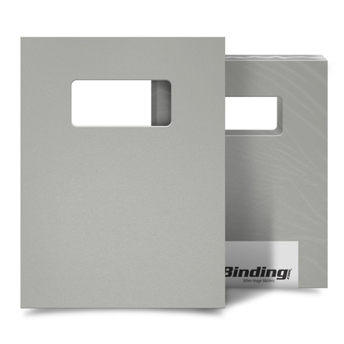 "Light Gray 16mil Sand Poly 9"" x 11"" Binding Covers with Windows - 25 Sets (MYMP169X11LGYW) Image 1"