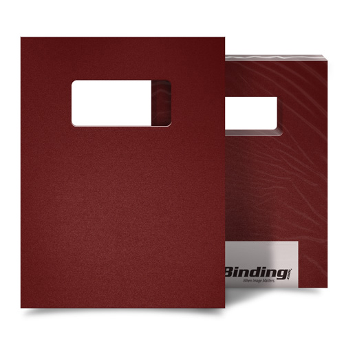 """Maroon 35mil Sand Poly 9"""" x 11"""" Binding Covers with Windows - 25 Sets (MYMP359X11MRW) Image 1"""
