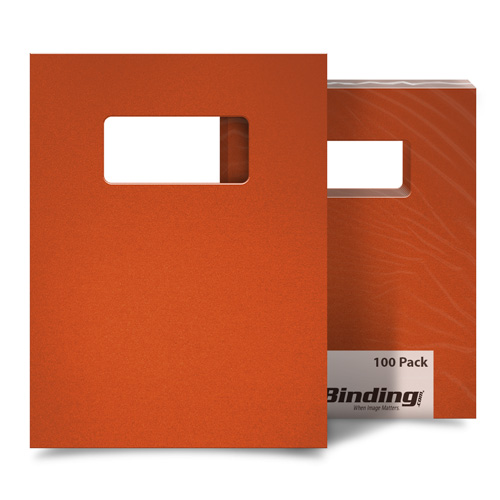 "Orange 23mil Sand Poly 9"" x 11"" Binding Covers with Windows - 25 Sets (MYMP239X11ORW) - $94.23 Image 1"