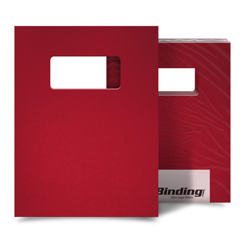 "Red 16mil Sand Poly 8.5"" x 11"" Covers with Windows - 25sets (MYMP168.5X11RDW) Image 1"