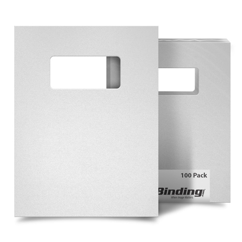 "White 55mil Sand Poly 9"" x 11"" Binding Covers with Windows - 10 Sets (MYMP559X11WHW) Image 1"