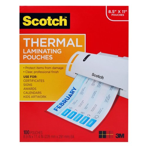 "Scotch 9"" x 11.5"" Letter Size Thermal Laminating Pouches - 100pk (TP3854-100) Image 1"