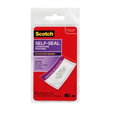 "Scotch 2-13/16"" x 4-9/16"" Luggage Tag Self-Seal Laminating Pouches with Loop - 5pk (LS853-5G) Image 1"