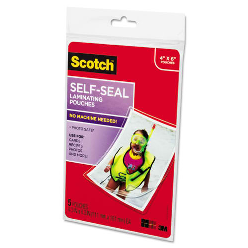 "Scotch 4-3/8"" x 6-3/8"" Photo Size Self-Seal Laminating Pouches - 5pk (PL900G) Image 1"
