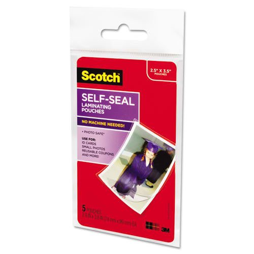 "Scotch 2-15/16"" x 3-15/16"" Wallet Size Self-Seal Laminating Pouches - 5pk (PL903G) Image 1"