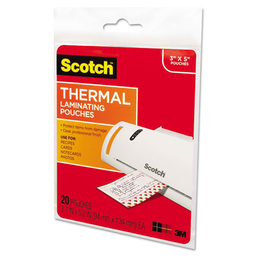 "Scotch 3-3/4"" x 5-3/8"" Index Card Size Thermal Laminating Pouches - 20pk (TP5902-20) Image 1"