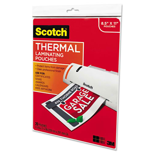 "Scotch 9"" x 11.5"" Letter Size Thermal Laminating Pouches - 20pk (TP3854-20) - $9.89 Image 1"