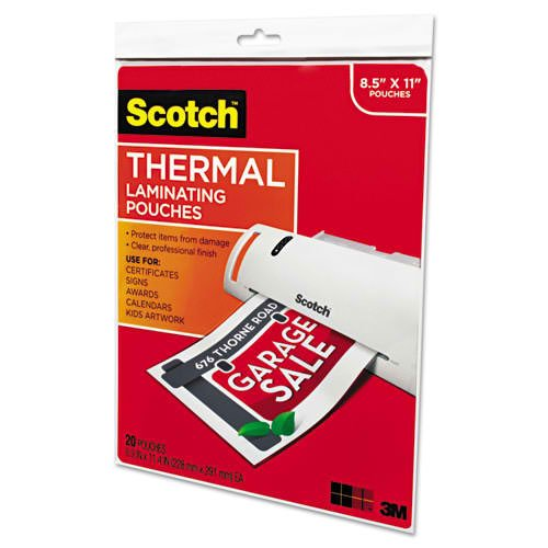 "Scotch 9"" x 11.5"" Letter Size Thermal Laminating Pouches - 20pk (TP3854-20), Scotch brand Image 1"