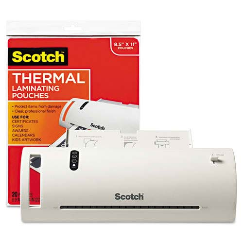 Scotch Thermal Laminator w/ 20 Letter Size Laminating Pouches (TL902VP), Scotch brand Image 1