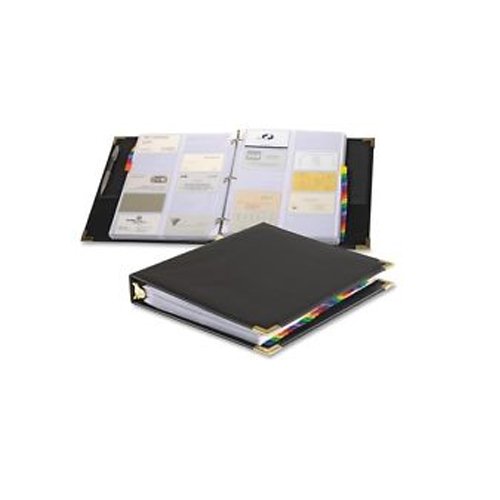 Cardinal Black Sewn Vinyl Business Card File Binder 6pk - CRD-65361 C20 (CRD-65361-C20) Image 1