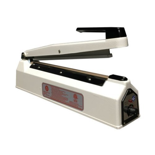 "SealerSales KF-300H White 12"" Hand Impulse Sealer w/ 2mm Seal Width (KF-300H-WHITE) Image 1"
