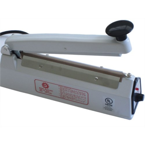 "SealerSales KF-200H White 8"" Hand Impulse Sealer w/ 2mm Seal Width (KF-200H-WHITE) Image 1"