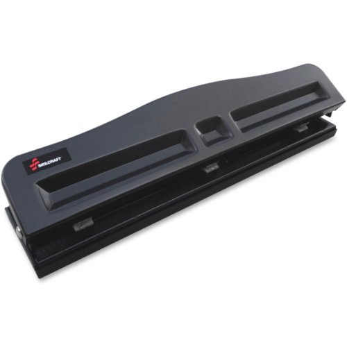 Skilcraft Black Light-duty Metal 3-Hole Punch (8-Sheet Capacity) (NSN6203828), Skilcraft Image 1
