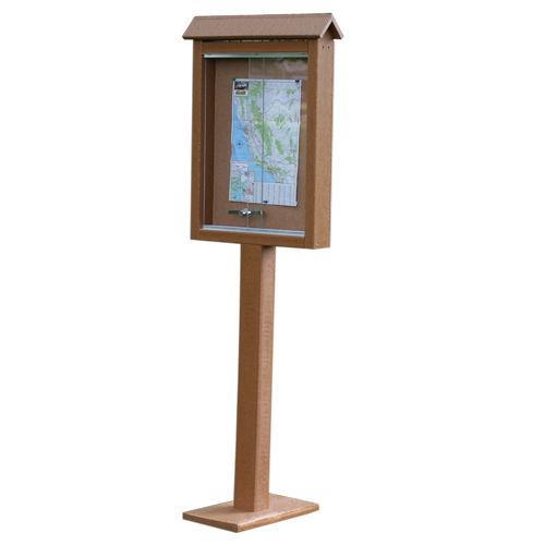 Frog Furnishings Small One-Sided Message Center w/ One Post - Cedar (JH-PBMC1PCED) Image 1