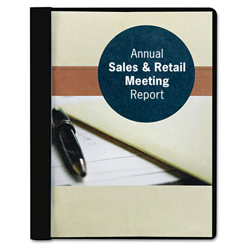 "Smead Black Embossed 8.5"" x 11"" Clear Front Report Cover with Tang Fastener - 25pk (SMD-87453) Image 1"