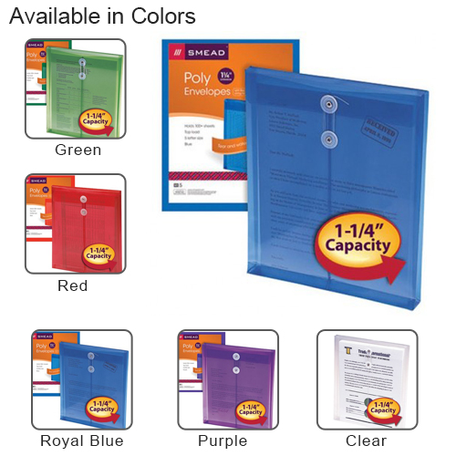 "Smead Top-Load 8.5"" x 11"" Poly Envelopes with String-Tie Closure - 5pk (SMD-TL8.5X11PESTC5) Image 1"