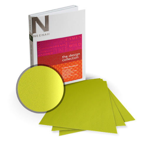 "Neenah Paper So Silk Shocking Green Super Smooth 8.5"" x 14"" 130lb Card Stock - 8 Sheets (NSSICSG566-D) Image 1"