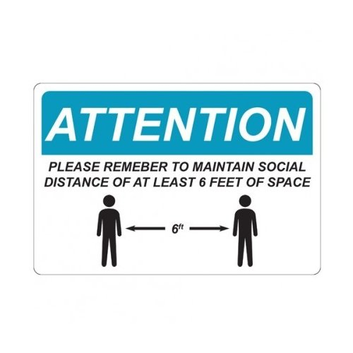 "Social Distance 6"" x 9"" Repositionable Signage - 5/Pack (MYBCCSA66X9) Image 1"