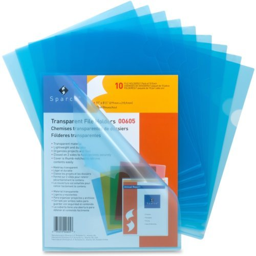 Sparco Blue Transparent Letter Size File Holder - 10pk (SPR00605), Sparco brand Image 1