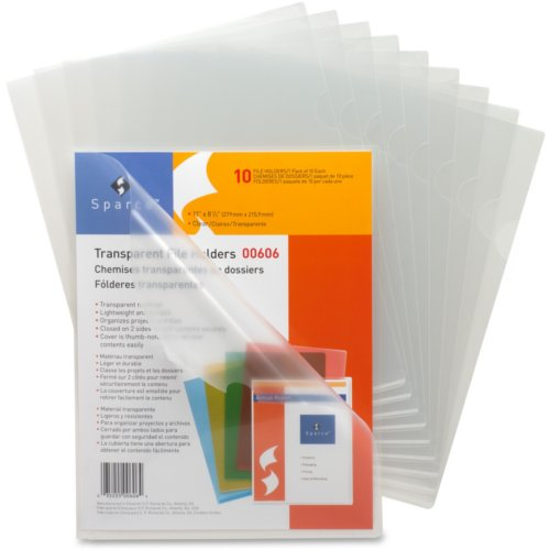 Sparco Business Source Clear Transparent Letter Size File Holder - 10pk (SPR00606) Image 1