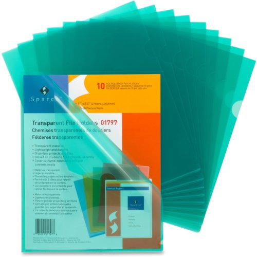 Business Source Green Transparent Letter Size File Holder - 10pk (SPR01797) Image 1