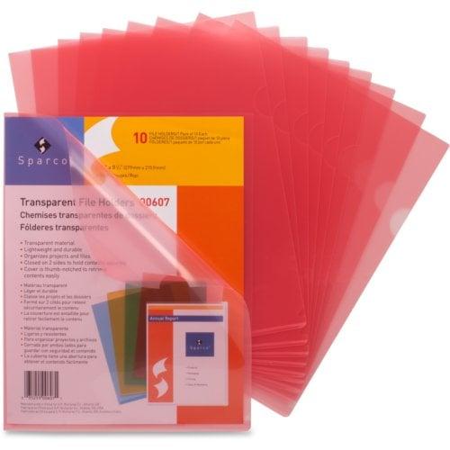 Business Source Red Transparent Letter Size File Holder - 10pk (SPR00607) Image 1