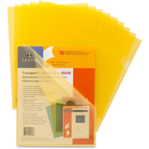 Business Source Yellow Transparent Letter Size File Holder - 10pk (SPR00608) Image 1