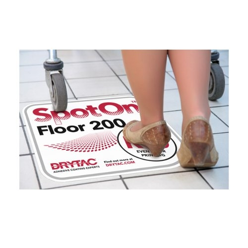"Drytac SpotOn Floor 200 White Matte 54"" x 98' Self-Adhesive Embosssed Printable Vinyl (SPOW54098) Image 1"