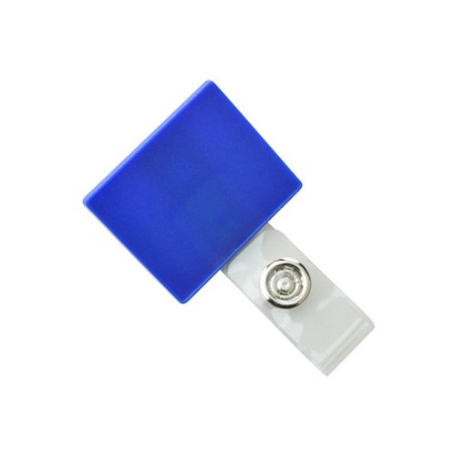 Square Metallic Blue LogoClips with Swivel Clip and Clear Strap - 25pk (2105-4102)
