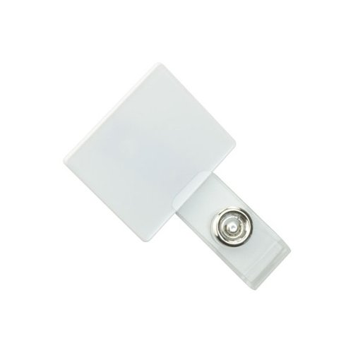 Square White LogoClips with Swivel Clip and Clear Strap - 25pk (2105-4108)