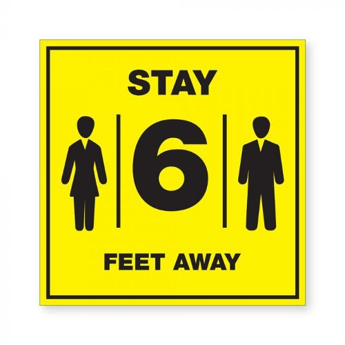 "Stay 6 Feet Away - 8"" x 8"" Acrylic Sign (97PPEFT6), Work from Home Products Image 1"