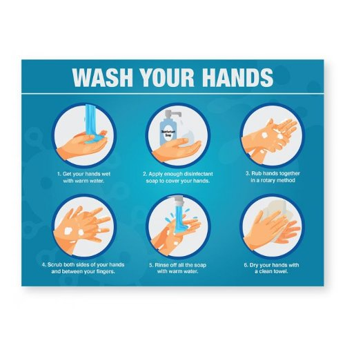 "Steps For Hand Washing - 8"" x 6"" Acrylic Sign (97PPESTEPSC), Work from Home Products Image 1"