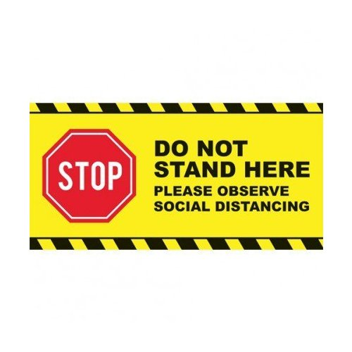 "Stop - Do Not Stand Here Social Distancing 24"" x 12"" Floor Graphic Rectangle - 50/Pack (MYB24x12Y) - $539 Image 1"