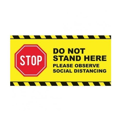 "Stop - Do Not Stand Here Social Distancing 24"" x 12"" Floor Graphic Rectangle - 50/Pack (MYB24x12Y) Image 1"