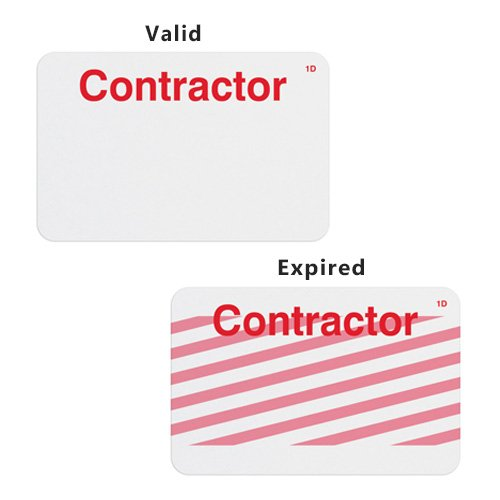 Manual ONEstep TIMEbadge Expiring Badge - Contractor - 500pk (02005) Image 1