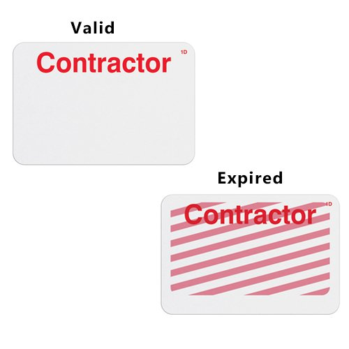 Manual TIMEbadge Expiring One Day Badge FRONTpart - Contractor -1000pk (06105) Image 1