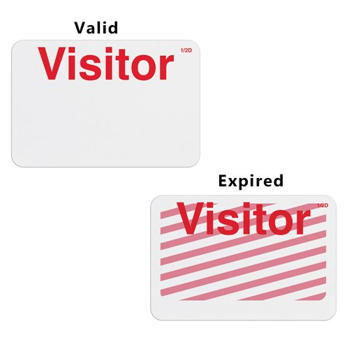 Manual TIMEbadge Expiring Half Day Badge FRONTpart - Visitor - 1000pk (06403) Image 1