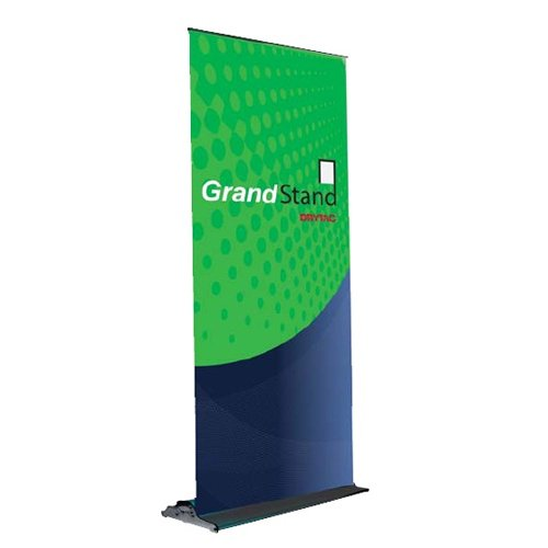 "Drytac The GrandStand Black 33.5"" x 84.5"" Single -Sided Retractable Banner Stand (GS085) Image 1"