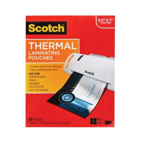 "Scotch 9"" x 11.5"" Letter Size Thermal Laminating Pouches - 50pk (TP3854-50), Scotch brand Image 1"